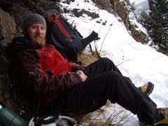 Rock Climbing Photo: John Klooster - Jaws Ice Fall RMNP - 12-30-2010