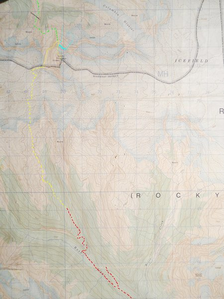 Mt Colombia, North Face<br> Bush River Approach<br> contour interval: 100 feet<br> <br> Red - logging roads<br>