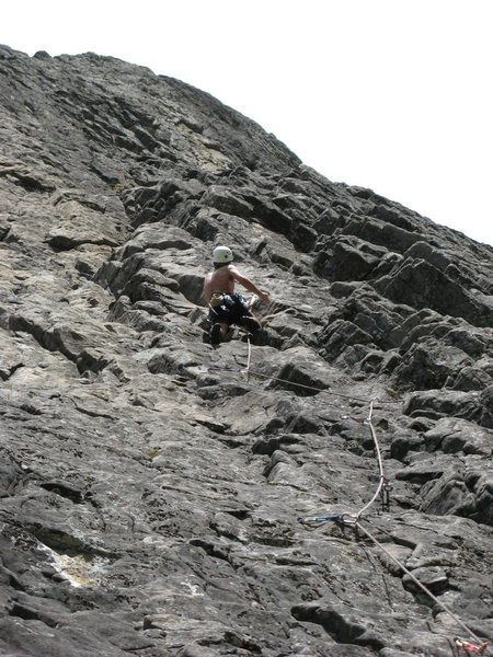 Rock Climbing Photo: Randy Rimby on pitch 2 of Coreolis Effect 5.9+