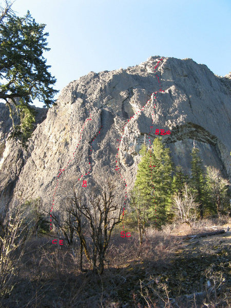 Wolf Rock south face with topos