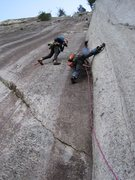 Rock Climbing Photo: crux pitch (10d). Pretty much every move feels 10b...