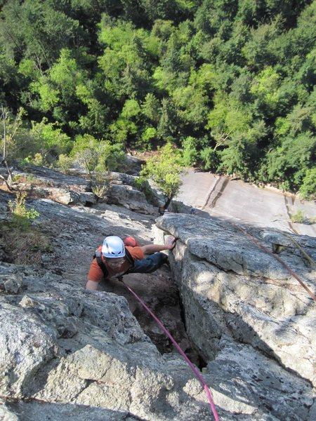 Rock Climbing Photo: pitch 5, Changing Corners, 10b. Steep up a left-fa...