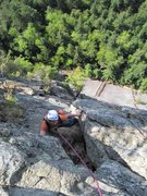 Rock Climbing Photo: pitch 5, Changing Corners, 10b. Steep up a left-fa...