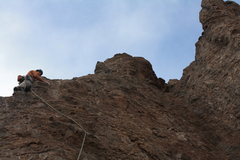 Rock Climbing Photo: Headed to the gully with not much in way of protec...