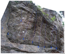 Rock Climbing Photo: A quick photo of the left side of the main area. 1...