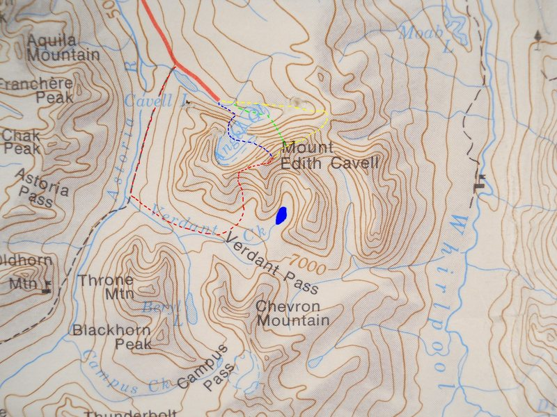 Mount Edith Cavell<br> contour interval:  500 feet<br> Northwest on map is true North<br> <br> Red - West Ridge<br> Yellow - East Ridge<br> Green - North Face, East Summit<br> Blue - North Face, Main Summit