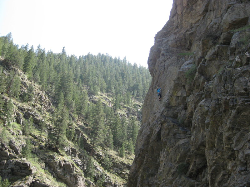 A 5.10 at Conspiracy Crag in Clear Creek, CO