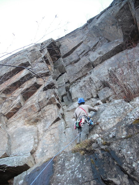 """Bouldery start to the first pitch of """"The Chimney"""", 11/13/2010."""