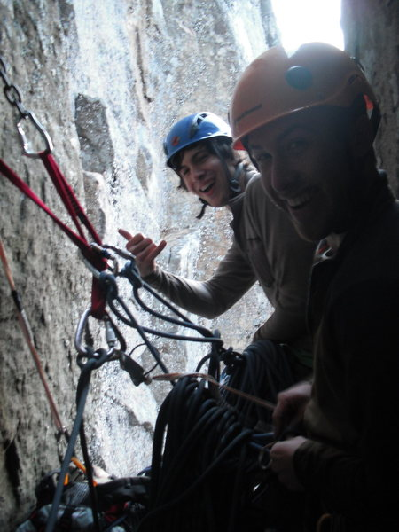 """Adam and Dylan at the first belay station on """"Great Chimney"""", 11/13/2010."""