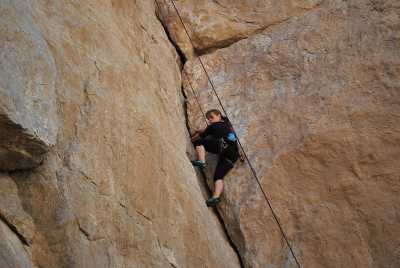 Just below the crux.