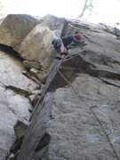 Rock Climbing Photo: Floating up the bolt-protected arete