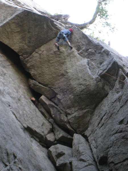 Rock Climbing Photo: Stinging the overhanging finger crack on the first...
