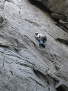 Rock Climbing Photo: on the crux of Eavesdrop. thin face moves on small...