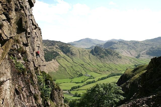 Slip Not,with the Langdale Valley below. Photo by JonC
