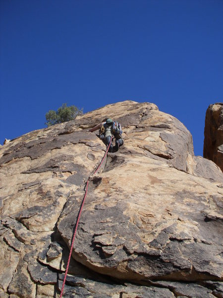 Rock Climbing Photo: Jake on the left arching groove of Silver Fox.