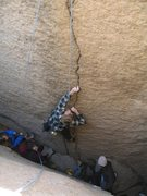 Rock Climbing Photo: Phil reaching for the crux hold on Welcome Home