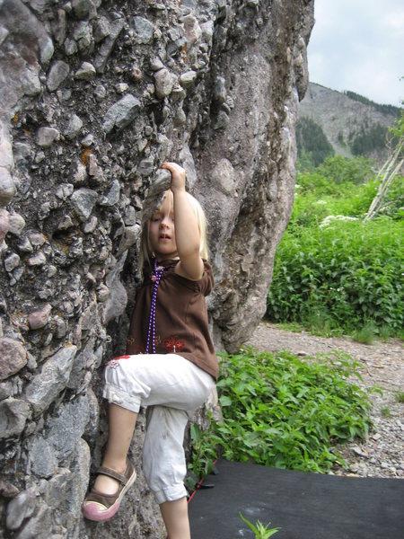 Zoe, age 3, bouldering in Telluride