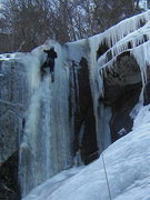 Rock Climbing Photo: Mike Prince TRs the WI 4 left face of the Northern...