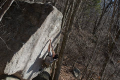 Rock Climbing Photo: Steep Fantasy V4, climber Eddie G, FA Jack Nakane