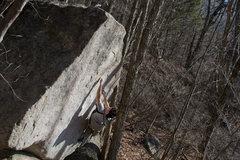 Rock Climbing Photo: Steep Fantasy V4, climber Eddie G, FA Jack Nakane