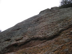 Rock Climbing Photo: 10-April-2010: looking up route from base; first t...