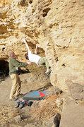 Rock Climbing Photo: Long reach to good jug