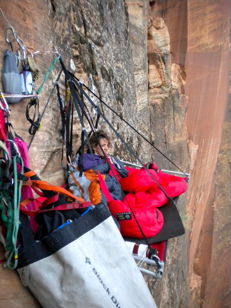 Excellent bivy ledge on Prodigal Sun, Zion National Park.  We fixed to further up and discovered that this was the primo spot!