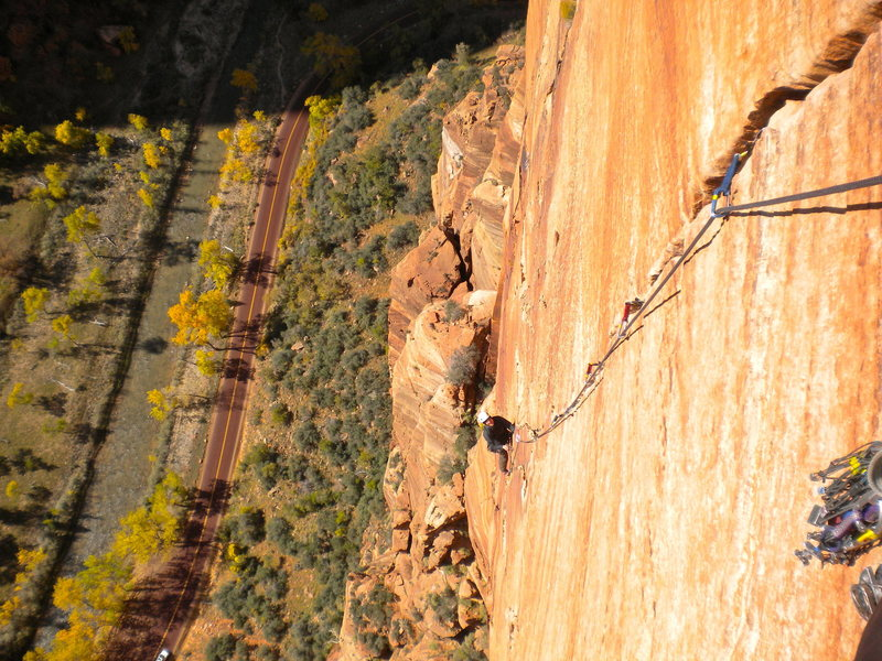 Rock Climbing Photo: Looking up down Pitch 4? Spaceshot. Zion National ...