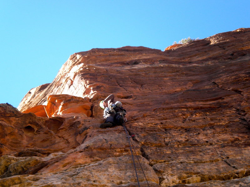 Rock Climbing Photo: Voices from the Dust.  5.11 sporty Pitch up high. ...