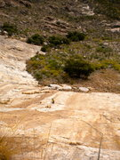 Rock Climbing Photo: Looking down at the easier slab pitches on B Cubed...