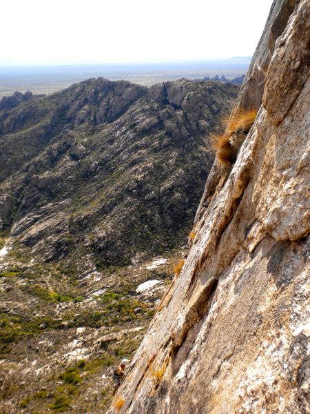 Dr. Thompson on the crux pitch of Elephantiasis.  Mendoza Canyon.