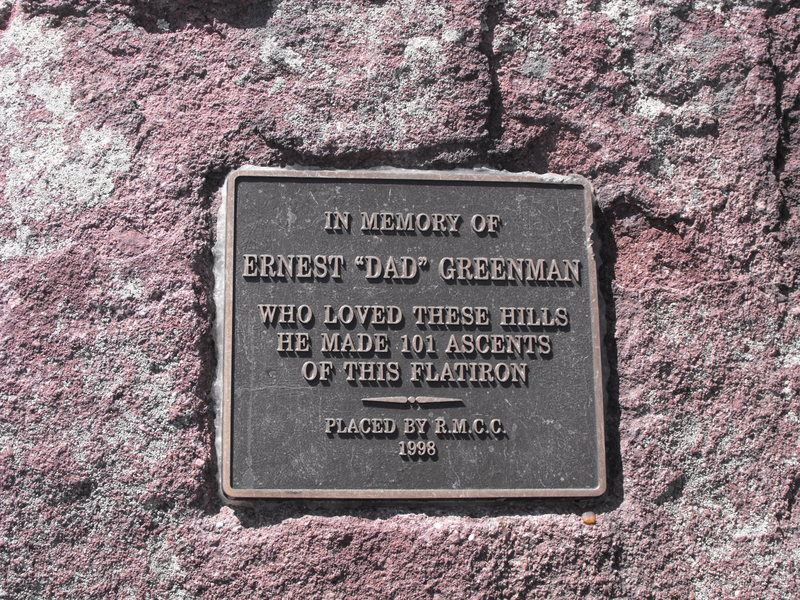 Ernie Greenman's plaque at the summit. He joined the RMCC around 1913 and all but single handedly built the Royal Arch Trail.<br> <br> It is said he led his five year old daughter to this summit while &quot;Ma&quot; Greenman was visitin' kinfolk in Kansas.