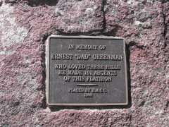 Rock Climbing Photo: Ernie Greenman's plaque at the summit. He joined t...