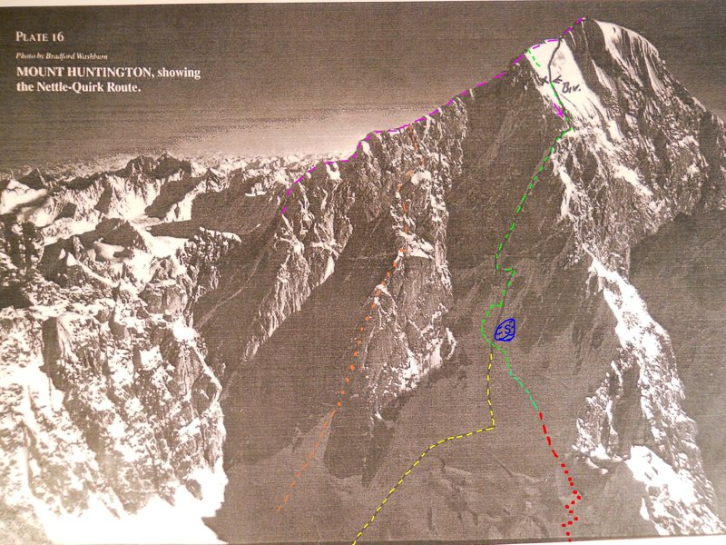 Washburn photograph<br> Black line by James Nettle<br> AAJ, 1990<br> <br> Black/yellow line - Nettle & Quirk's approach route, via the left side of the ice-fall.  Harder and slower, but safer, unless the mountain is not frozen.  This is also how Puryear shows the approach in his guide. <br> <br> Nobody seems to heed the advice.  That might be because moving fast, before getting frozen, is worth risking the seracs.<br> <br> Red dots - The approach used by most teams now, hidden in this photo by the threatening seracs.  Morning sunhit on the seracs does seem to wake them up.<br> <br> Red dashes - Easy part of the modern hike/ski to the bergschrund.  Also threatened by avalanching more than Nettle and Quirk's approach.<br> <br> Green dashes - Variations used now to avoid rock slabs with shallow coverage.<br> <br> Blue S - The dangerously anchor-less slabs that must be avoid both on the ascent and descent. Climbers still had to work hard to find good anchors, left of the rock slab, in the deep snow of May, 2010.<br> <br> Orange dashes - Colton-Leech Easy to reach from the TAT landing zone.  C-L also seemed to get less powder slough activity than West Face Couloir.<br> <br> Violet dashes- French Ridge