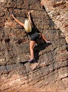 "Rock Climbing Photo: Jona Marie Price on ""The Black Warm-Up""...."