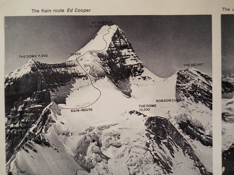 Ed Cooper's Photo<br> Canadian Alpine Journal, 1973<br> <br> Cooper was a pioneering climber and photographer.  It is probable that the route suggestion was drawn in by the CAJ editor.<br> <br> A good title might be:<br> &quot;The Safest Way To Climb Robson&quot;.<br> <br> Note the absence of any suggestion of climbing the icefall via the &quot;Mousetrap&quot;.