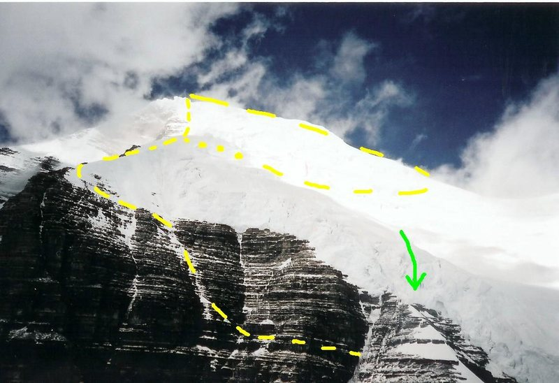 Schwartz Ledges<br> Photographer Unknown<br> <br> Yellow dashes - The Southeast Face and Schwartz Ledges<br> <br> Green arrow - Some have descended the dangerous ice cliff via a 50 meter rappel, instead or reversing the ledge traverse or descending via the Kain.