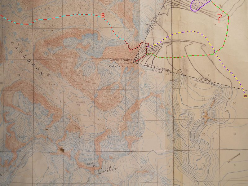 Plumb-Stutzman Route<br> contour interval: 100 feet<br> one mile grid<br> pencil contours of Canada:<br> 500 feet and artistic<br> <br> red/blue - approach<br> red/black - Plumb-Stutzman<br> red/green - descent & return to basecamp.  <br> <br> Red ? - Gnarly icefall, also climbed by Waterman on his solo.<br> <br> violet/yellow - suggestion for connecting an American landing zone to the Plumb-Stutzman, upper rib.<br> <br> Violet dots - recent looking mass wasting across return route, visible on Peak Finder.