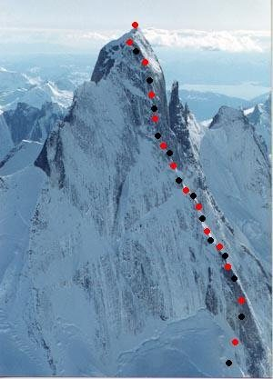 Plumb-Stutzman Route<br> Northeast Buttress, Devils Thumb <br> <br> 99% sure this is a USGS photo<br> <br> <br> <br>