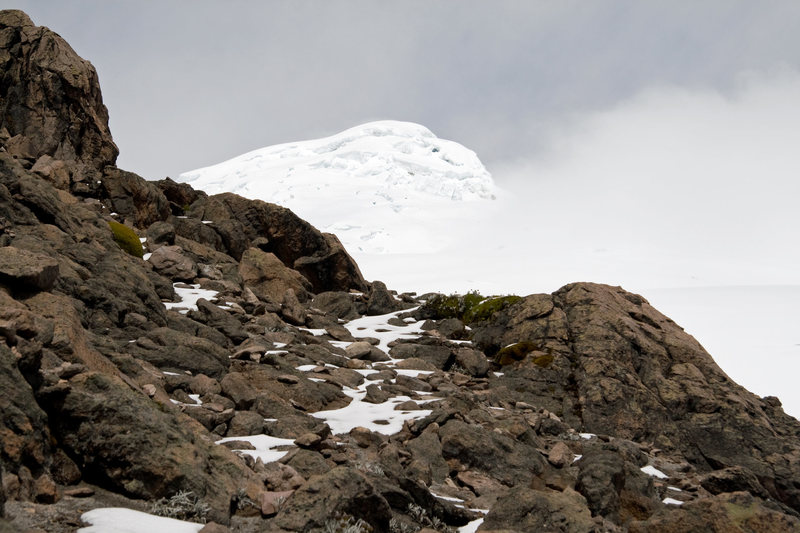 Rock Climbing Photo: Cayambe from the rock buttress above the hut.