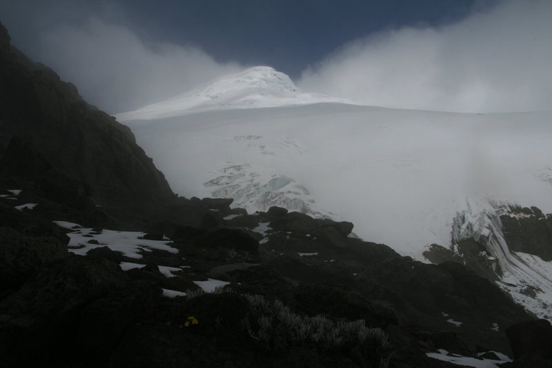 Cayambe just before dark as viewed from above the hut.