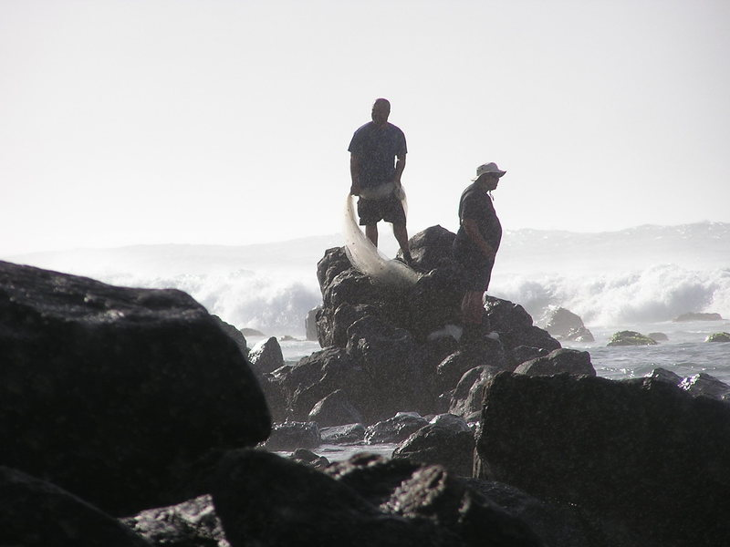 local fishermen at Kuau<br> Photo: Olaf Mitchell