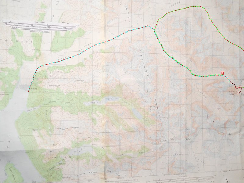 Plumb-Stutzman Approach<br> contour interval:  100 feet<br> one mile grid<br> <br> red &quot;B&quot; - basecamp<br> <br> red/blue - saltwater approach to basecamp.<br> <br> red/black - Plumb-Stutzman Route<br> <br> red/green - return route to basecamp