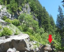 Rock Climbing Photo: The boulder is behind the rubble. There are number...