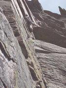 Rock Climbing Photo: At the crux. Photo: Roth.