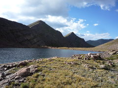 Rock Climbing Photo: UN 13,060 and UN 13,062 from Mas Alto Lake.