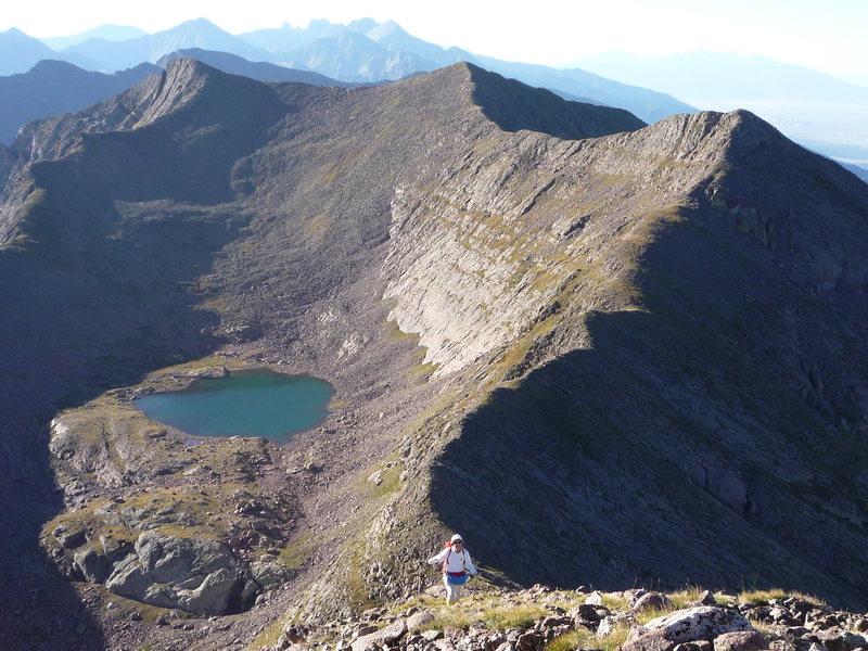 Rock Climbing Photo: Mas Alto Lake and UN 13,028 from UN 13,060.