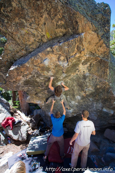 Rock Climbing Photo: Danny Baker: crux of DPD.  Photo Credit: Axel Pers...