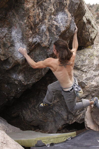 Rock Climbing Photo: Danny Baker: Gang Bang.  Tough throw to a slopper,...