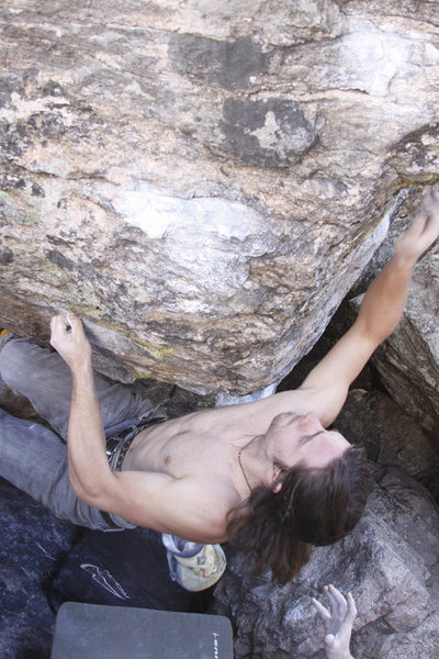 Rock Climbing Photo: Danny Baker: Tommy's Arete.  The crux, I would say...